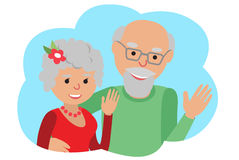 Happy senior couple waving his hand. Vector drawing in cloud communication icone. Hello gesture royalty free illustration