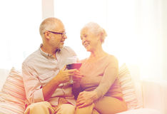 Free Happy Senior Couple With Glasses Of Red Wine Royalty Free Stock Photography - 84008777
