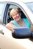 Happy senior driver royalty free stock photography