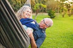 Happy senior european couple stock images