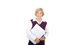 Happy senior executive with laptop Stock Photography