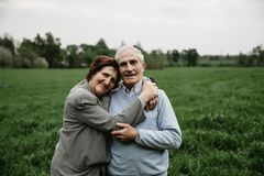 Happy senior family enjoying spending time together stock images