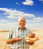 Happy senior farmer royalty free stock photos