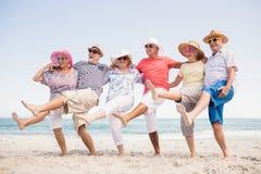 Happy senior friends dancing Stock Photo