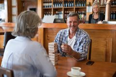 Senior friends playing jenga game on table in bar. Happy senior friends playing jenga game on table in bar Royalty Free Stock Photography