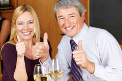 Happy senior holding thumbs up Royalty Free Stock Image