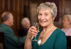 Happy senior lady in restaurant Stock Images
