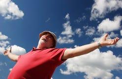 Happy senior man. Open arms in outdoor stock photo