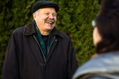 Happy senior man with a beaming smile royalty free stock photo