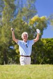 Happy Senior Man Celebrating Playing Golf. Happy senior man celebrating a successful shot playing golf stock image