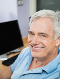 Happy Senior Man In Computer Class Stock Images
