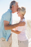 Happy senior man giving his partner a kiss on forehead Royalty Free Stock Photography