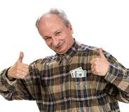 Happy senior man holding dollar bills Royalty Free Stock Photography