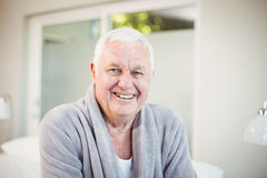 Happy senior man at home Royalty Free Stock Image