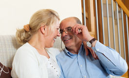 Happy senior man with mature wife smiling together Stock Photos