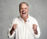 Happy senior man. Happy mature man winner portrait over gray wall background royalty free stock image