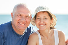 Happy senior man and mature woman Stock Images