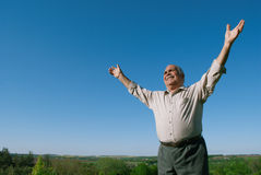 Happy senior man rejoicing in nature Stock Photography