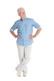 Happy senior man in shirt Stock Photos