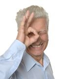 Happy senior man showing ok Royalty Free Stock Image