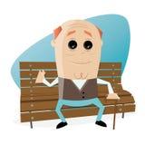 Happy senior man sitting on a bench Stock Photos