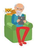 Happy senior man sitting on the sofa read newspaper and rest with cat. stock illustration
