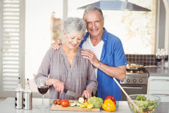 Happy senior man standing with woman cutting salad Royalty Free Stock Image