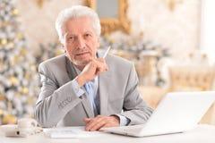 Portrait of a senior man using laptop stock images