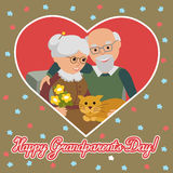 Happy senior man woman family with cat. Greeting card for grandparents day. Stock Images