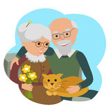 Happy senior man woman family sitting with cat. Vector illustration in cloud isolated white background. Royalty Free Stock Photo