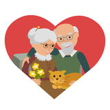 Happy senior man woman family sitting with cat. Vector illustration in heart  white background. Royalty Free Stock Photos