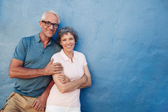 Happy senior man and woman together stock image