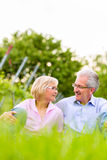 Happy senior man and woman in vineyard Stock Photos