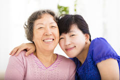 Happy senior mother and adult daughter Stock Photo