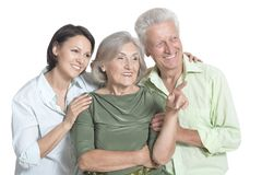 Happy senior parents with daughter, on white background royalty free stock photography
