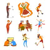 Happy senior people having fun set, elderly men and women cartoon characters leading active lifestyle, social concept royalty free illustration