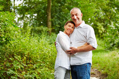 Happy senior people together in a forest Stock Images