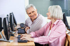 Happy Senior Students Communicating In Computer Class Stock Images