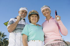 Happy Senior Tennis Players Smiling Royalty Free Stock Photo