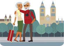 Happy senior tourists Stock Photos