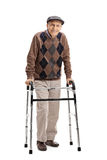 Happy senior using a walker Royalty Free Stock Photography