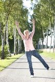 Happy senior woman active in nature Stock Photography