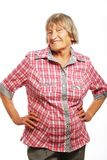 Happy senior woman against white Stock Photography
