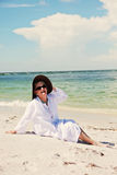 Happy senior woman on beach Royalty Free Stock Photo