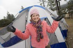 Happy Senior Woman Enjoying Camping Royalty Free Stock Images