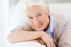 Happy senior woman face at home Royalty Free Stock Images