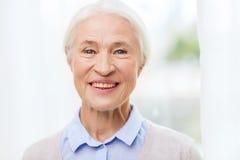Happy senior woman face at home Stock Photos