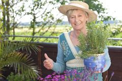 Happy senior woman with flowers Royalty Free Stock Images