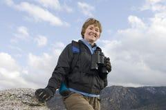Happy Senior Woman On Hiking Trip Stock Photo
