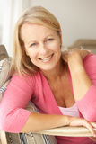 Happy senior woman at home Royalty Free Stock Photos